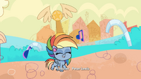 Rainbow walking with trophy on her head PLS1E2a