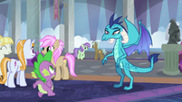 Spike running up to Princess Ember S8E1