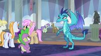 Spike running up to Princess Ember S8E1