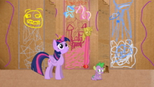 Spike displaying fear at his new god princess.png