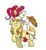 222024 safe 30-minute-art-challenge braeburn riding cherry-jubilee ponies-riding-ponies artist-frokusdoodle 5100ba267f123bc217000001.jpg