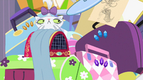 Opalescence staring at Rarity writing the letter to Twilight S2E09