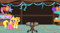Cherry Berry and Golden Harvest watching Pinkie Pie S01E22