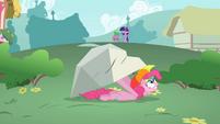 Pinkie Pie hiding under a boulder S1E15