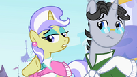 Upper Crust asking Rarity for source of her hat S2E9