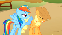 Rainbow Dash and Applejack competing S1E13
