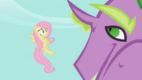 Fluttershy entreats Spike to release Rarity S2E10