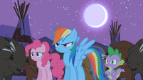 Rainbow Dash, Pinkie Pie, and Spike looking worried S01E21