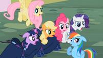 """Main cast and Rainbow Dash """"a little?!"""" S02E08"""