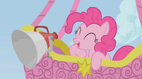 Pinkie Pie announcing from a hot-air balloon S1E13