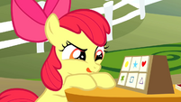 Apple Bloom sticks her tongue out in concentration S1E18