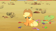 Applejack's ribbons are scattered on the ground S2E14.png