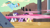 Pinkie Pie darting out of the train S2E14