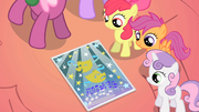 CMC looking at Ponyville school talent show flier S01E18.png