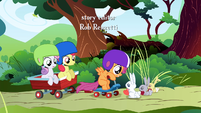 CMC in front of the rabbits S1E23