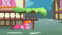 Pinkie Pie hiding under a platform S1E15