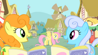Golden Harvest and Shoeshine noticing Fluttershy S1E20