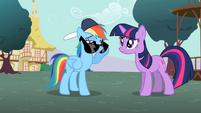 Rainbow Dash peeking over sunglasses S2E07
