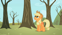 Applejack wondering about the theft of her apples S2E10