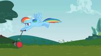 Rainbow Dash mowing the lawn S2E8