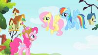 Pinkie Pie talks to Fluttershy and Rainbow Dash S1E25