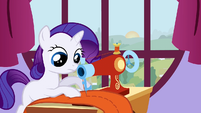 Filly Rarity working at a sewing machine S1E23