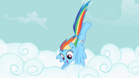 Rainbow Dash diving into the clouds S2E08