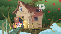 Ponies looking at treehouse roof colapsing S1E18