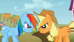 Rainbow Dash and Applejack being competitive S01E13.png