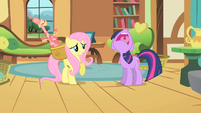 Twilight groans angrily at Fluttershy S01E22