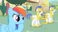 Rainbow Dash contemplating final prank on royal guards S1E22