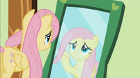 Fluttershy in front of a mirror S01E22