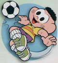 Cascão jogando futebol no álbum da Chicle de Bola Gang.png