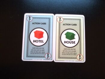 The house and hotel in Monopoly Deal.