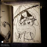 Sketchbook karakasa obake by candra deewyql