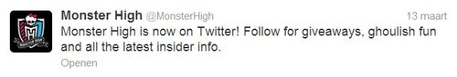 The first tweet on the Monster High Twitter account.