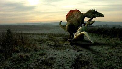 Spinosaurus killing a Carcharodontosaurus