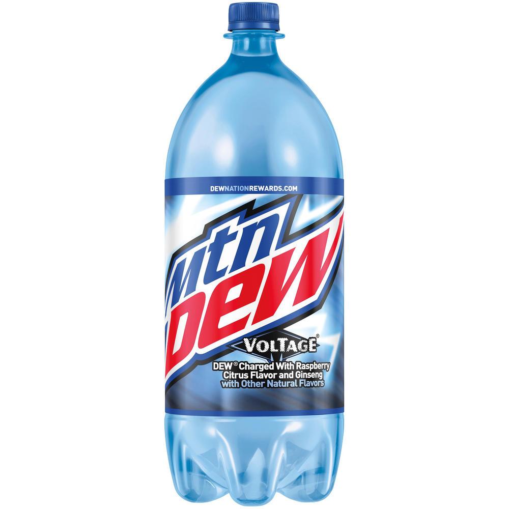 Mountain Dew Voltage in 2 liter bottles with the Dew Nation Rewards label.png