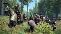 Empire cataphracts fighting vlandia infantry