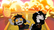 Joey and Xefros jump away from explosion