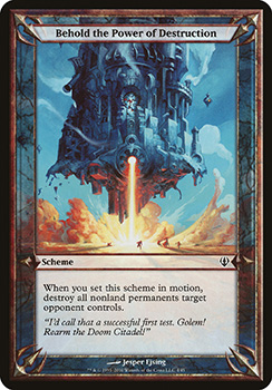 """A scan of the scheme card """"Behold the Power of Destruction""""."""