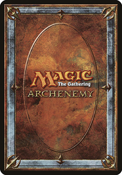 "A scan of the back of a scheme card. Similar to a traditional card back, with ornate stonework around the edges and the words ""Magic: The Gathering Archenemy"" in the center."