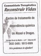 Entidades - Comunidade Terapêutica Reconstruir Vidas - logo panfleto