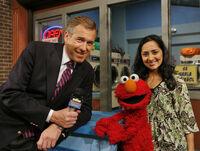 Leela, Brian Williams and Elmo