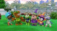Happy Hallowocka backyard costumes
