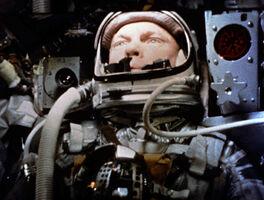 John Glenn piloting Friendship 7