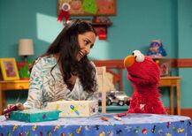 Leela and Elmo, crayons