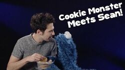 Cookie Monster tries British biscuits for the first time with Sean!