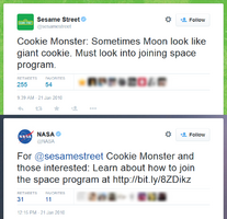 Cookie Monster NASA Twitter Jan 21 2010