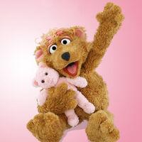 Curly Bear with stuffed animal